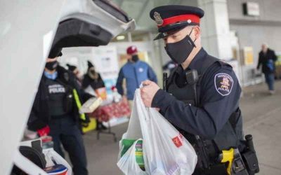 Vintage Windsor Police cruiser stuffed in support of Kids First food bank