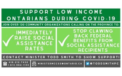 Community organizations call on province to ensure income security during pandemic